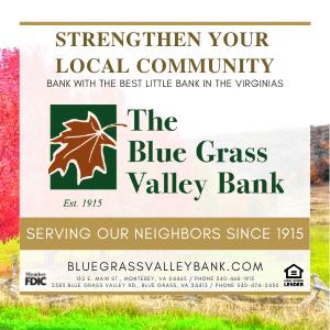 Highland County, Virginia, Blue Grass Valley Bank, Blue Grass, Monterey, bank, loans, financial