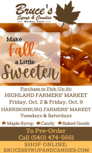 Highland County, Virginia, Bruce Folks, Bruce's Syrup and Candies, maple, syrup, sugar, products, baked goods, candy, vendor, Highland Farmers Market, Harrisonburg Farmers Market, order online, pre-order