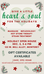 Highland County, Virginia, Heart and Soul Massage, massage, hot stone, gift, gifts, Christmas, gift certificate, present, open house