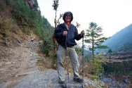 Suit Yoo getting near the end of Day 1 trek between Lukla and Phakding