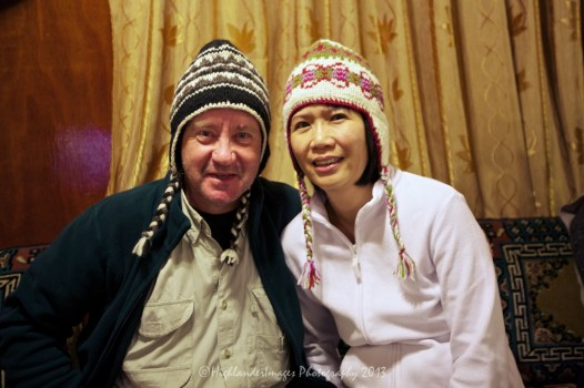 Nepalese woollen hats purchased at the Panorama Hotel, Namche Bazaar. They may look silly but as we progressed higher up and it became colder these hats were invaluable.