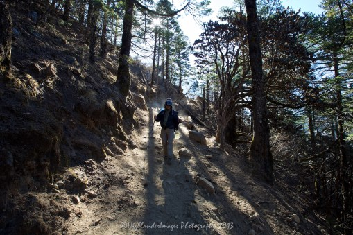 The start of the downhill trek from Tengboche towards Namche Bazaar