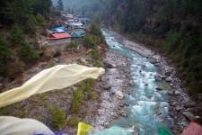 View of Jorsalle from the bridge crossing between Namche Bazaar and Phakding.