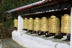 Prayer wheels on the trail between Phakding and Lukla.