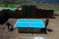 Table tennis game being played by two local boys between Monjo and Lukla.