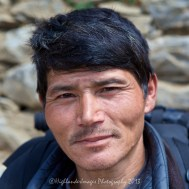 Our trusty sherpa porter Gunga Rai although very small and 49 years old can carry a heavy pack effortlessly up the steep tracks every day.