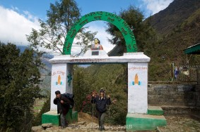 Suit Yoo crosses the finishing point of the 7 day trek at Lukla.