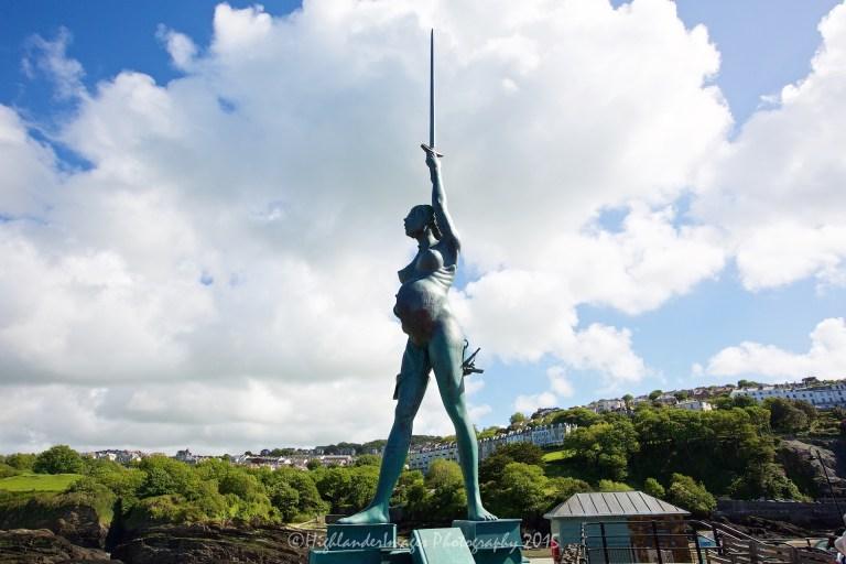 Verity statue by Damien Hirst, Ilfracombe, Devon, Uk.