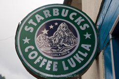 Starbuck Coffee, Lukla. Note the altered logo with a large mountain instead of the girl's head in the genuine logo.