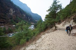 Between Phakding and Monjo as we head up the Khumbu Valley and next to the Dudh Kosi River.