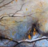 Leaves in Winter 5 - oil painting by Laura Murray Jones