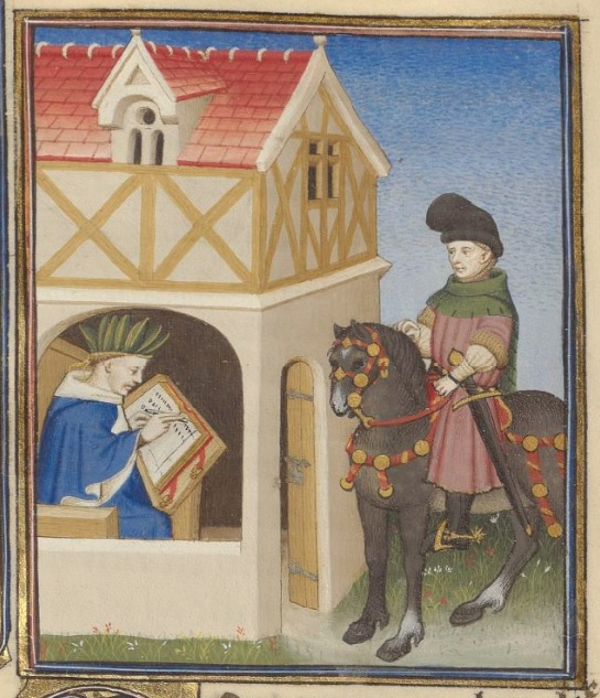 A man in a ping tunic with a green hood rides astride a dark grey horse with red and gold tack outside of a building. Inside the building is a man in blue robes, with a green head covering, writing in a book. The door on the wall between the outside and inside of the building is open.