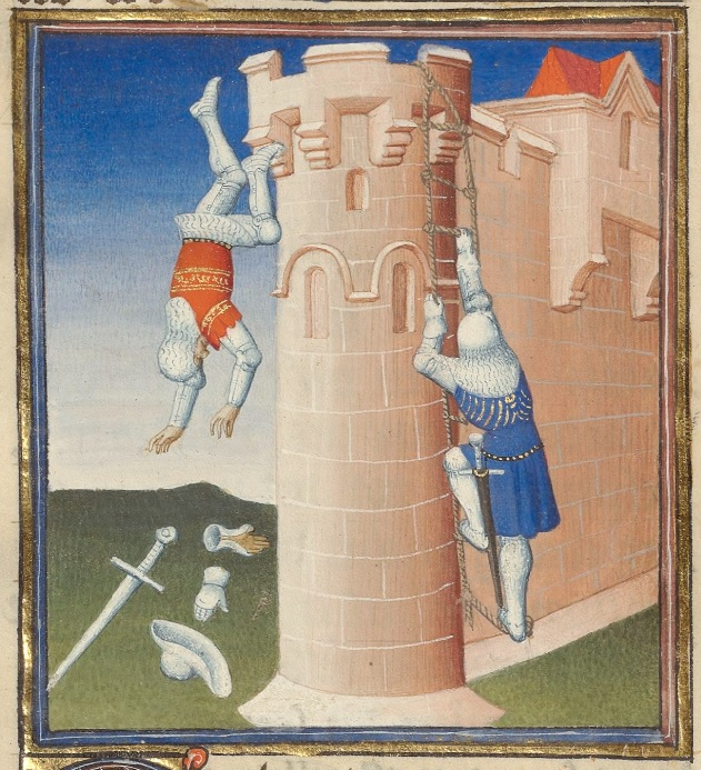 A pink stone tower is attached to a wall. A rope ladder hangs off the right side of it, and a man in armor and blue tunic climbs up it. Off the left, a man in armor and red tunic falls towards the ground. He has already dropped his sword, gauntlet, and hat on the ground.