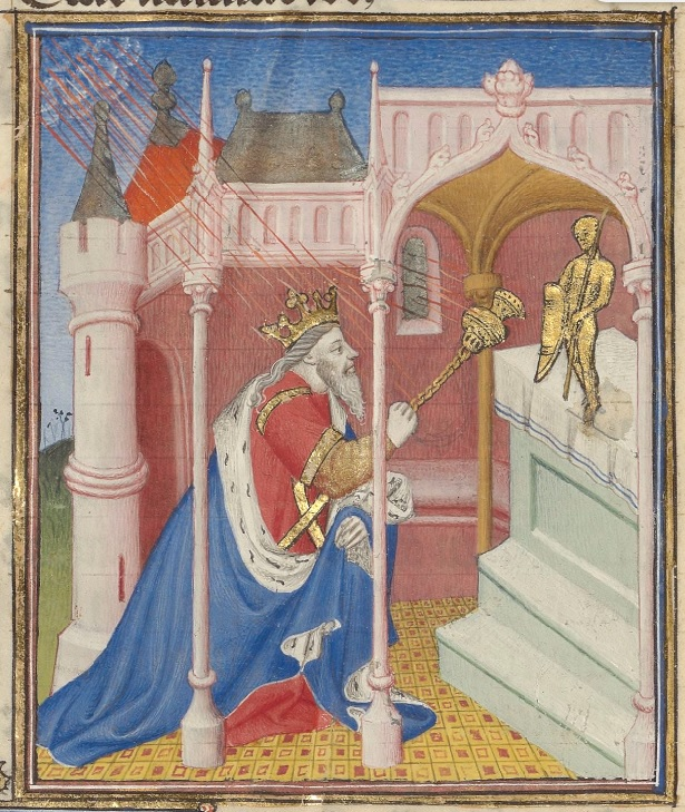A man in a red robe, blue cloak, and crown, is kneeling in front of an altar, and holding a gold scepter, pointing it at a gold figurine on top of the altar. The man is in a pink stone building with columns, and a cloud is shooting red lines at the man and the scepter.