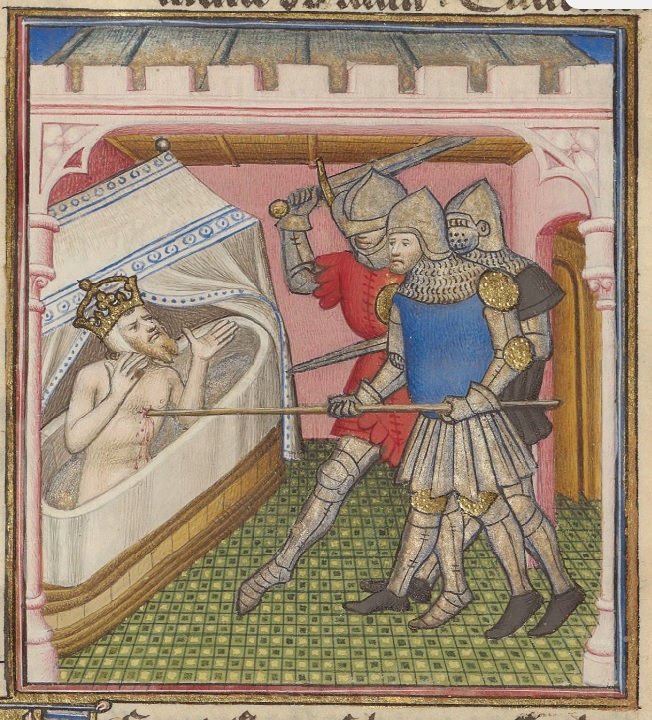 A naked man wearing a crown is in the bathtub with his hands up. He is being stabbed by a spear held by one of three armored men who stand outside the tub.