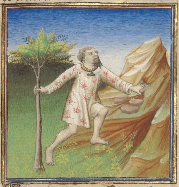 A man stands outside, grabbing hold to a tree and walking towards a rock outcropping, wearing a white short tunic on fire, a gold collar, and no pants.