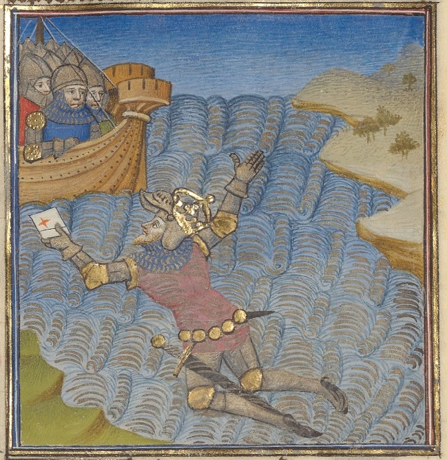 In the foreground is a man in armor and a crown, in a river, holding a letter out to men in armor, on a boat, going off the left side of the image.