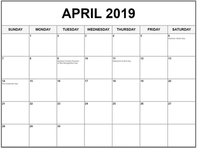 April 2019 Calendar With Holidays Nz Tourismstyle Co