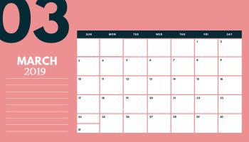 Editable March 2019 Calendar Blank Template Word