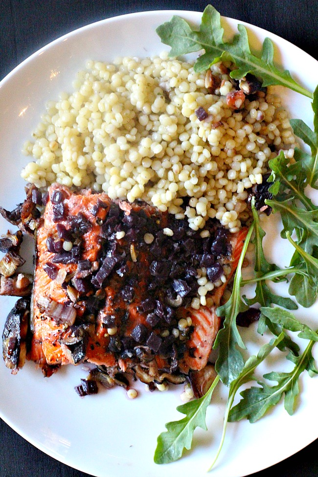 Cedar plank salmon with shiitake mushrooms and red wine reduction sauce