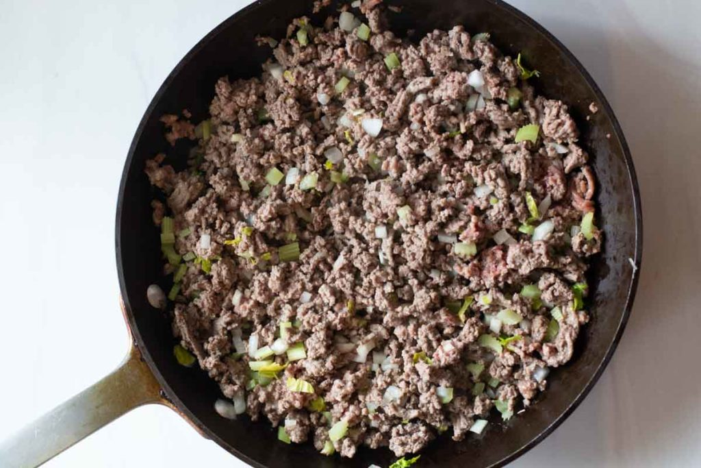 Browning ground beef for sloppy joes to serve 60.