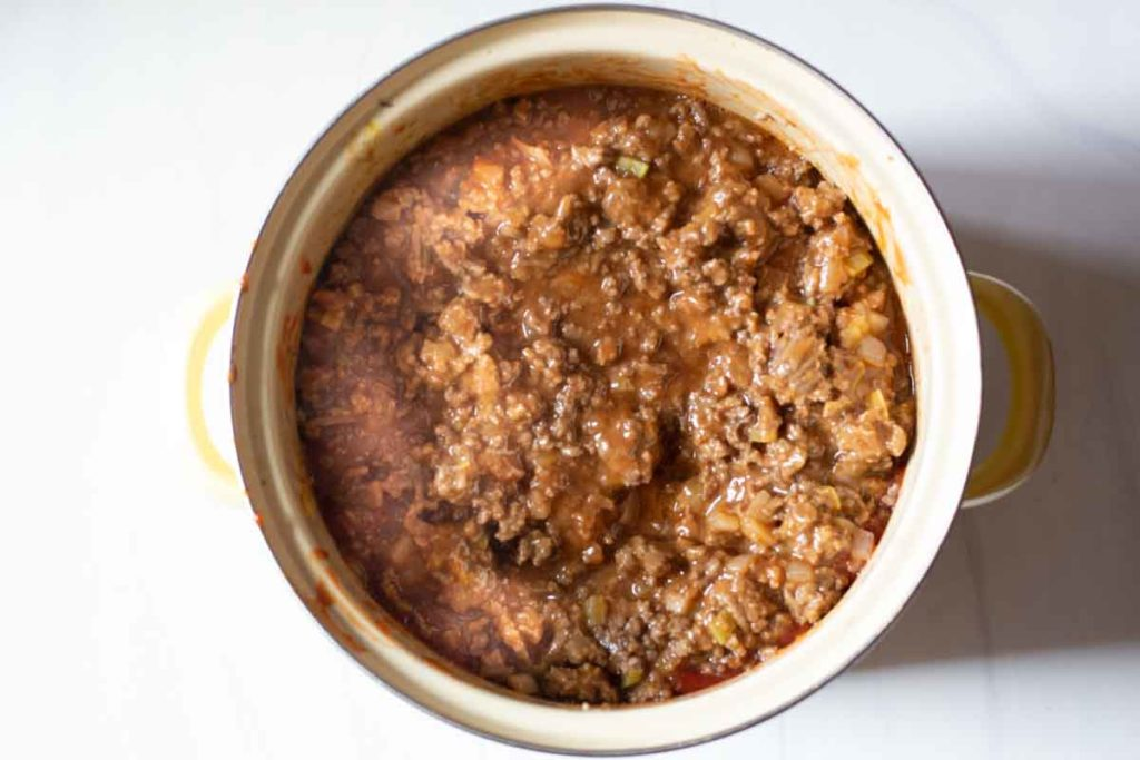 Sloppy joes for a large crowd cooking in a big soup pot