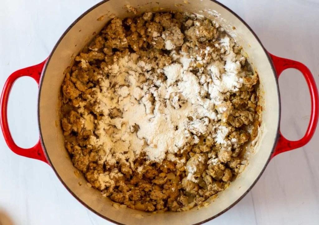 Adding flour to thicken white bean chicken chili