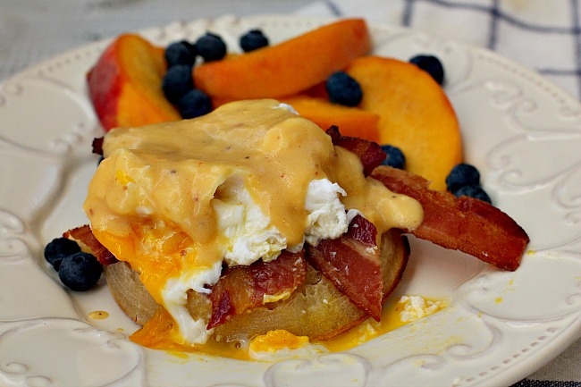 Chipotle Benedict Sauce for eggs Benedict with bacon.