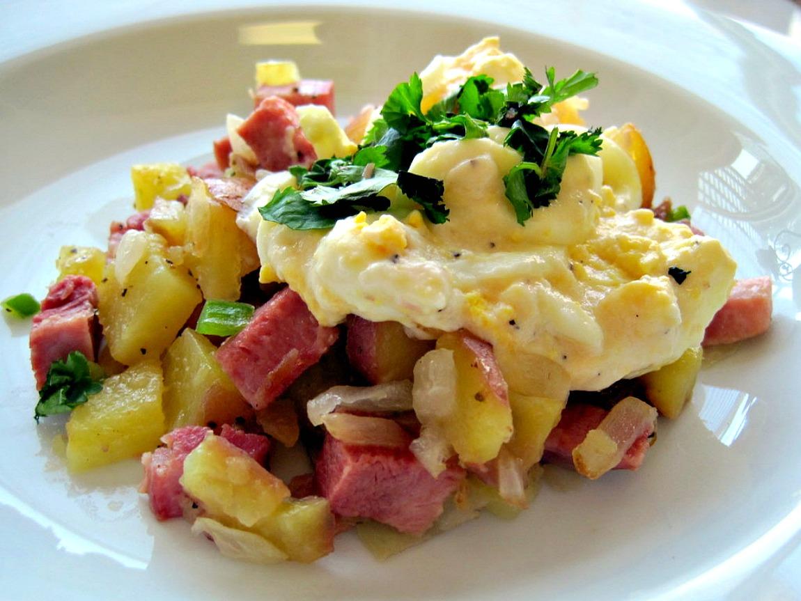 Ham hash with mustard cream sauce. Recipe for left over ham.