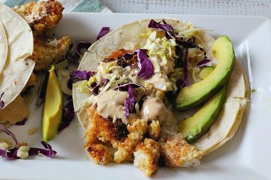Tilapia Fried Fish Tacos with Hoisin Tarter Sauce