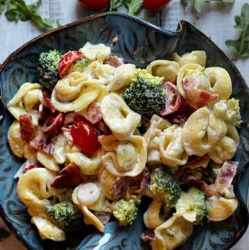 Best Pasta Salad. Tortellini, tomatoes, broccoli onions.