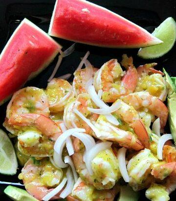 Jamaican Inspired Shrimp Salad with Mango Vinaigrette, watermelon and avocado