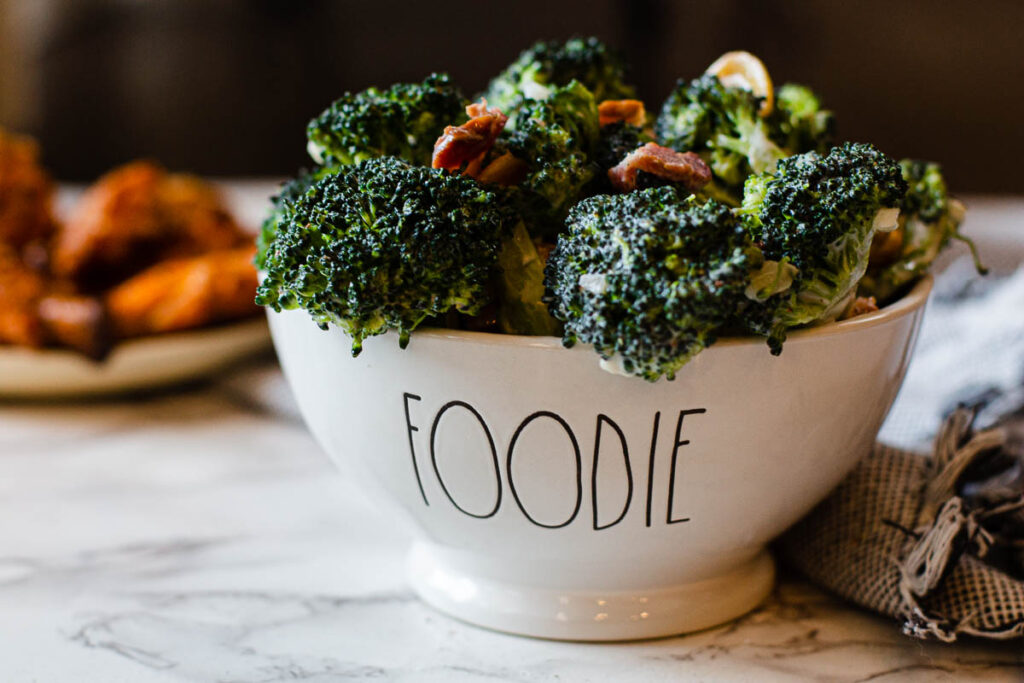Broccoli salad with bacon and cashews mayonnaise and sugar