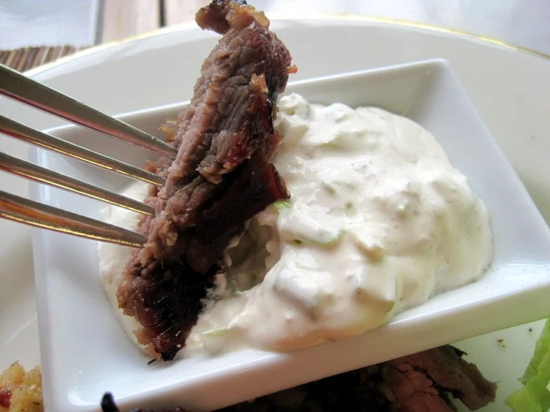 Grilled Flank Steak with Horseradish Cream Sauce and best flank steak marinade