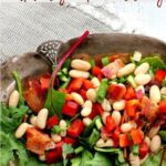 White bean salad with bacon and maple syrup dressing