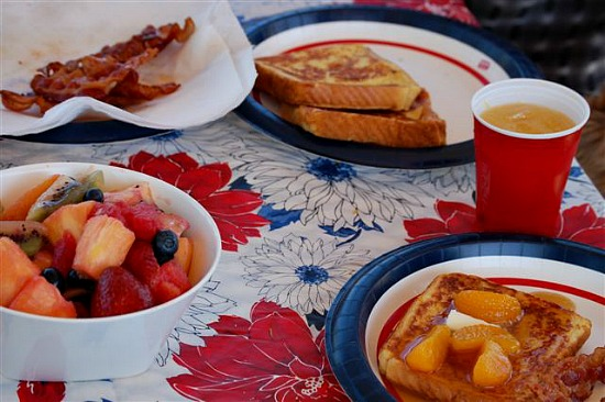 Orange French Toast with Grand Marnier Syrup. Delicious anytime and great for camping food.