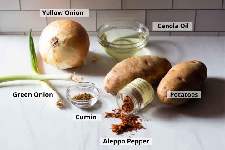 Ingredients to make turkish fries, turkish potatoes