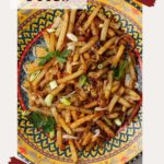 turkish fries on colorful platter