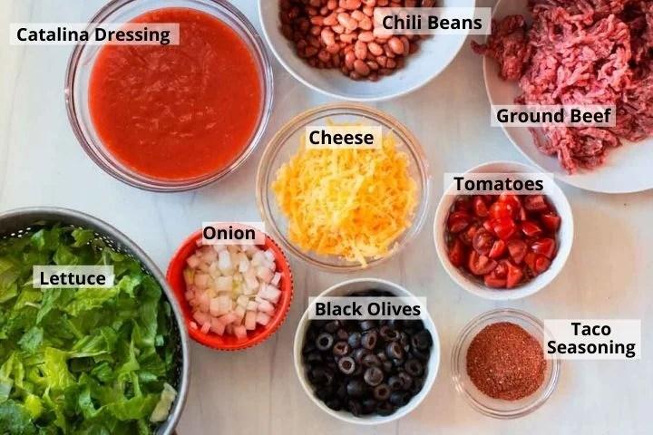 Ingredients to make taco salad with Doritos