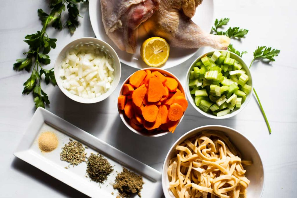 ingredients to make hearty chicken noodle soup