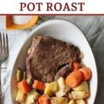 old fashioned roast beef dinner with carrots and potatoes