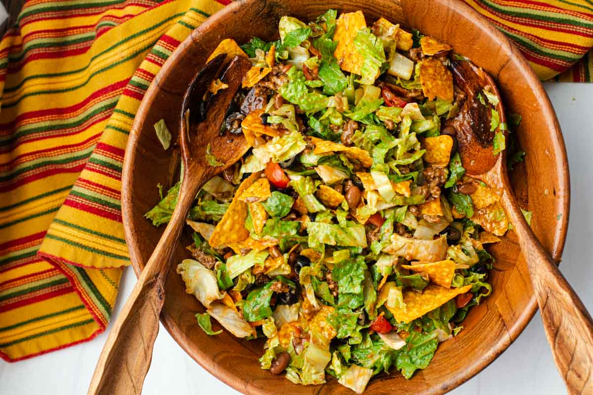 Old Fashioned taco salad with catalina dressing