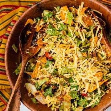 Taco salad with doritos and catalina dressing