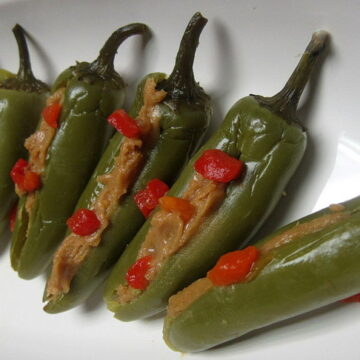 Stuffed Pickled Jalapenos with peanut butter. An exciting appetizer recipe.
