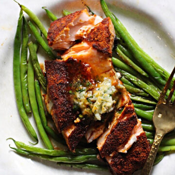 Spice Rubbed Salmon with Cilantro Lime Butter.