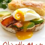 Mexican Breakfast sandwich with chipotle, avocado, bacon and poached egg.