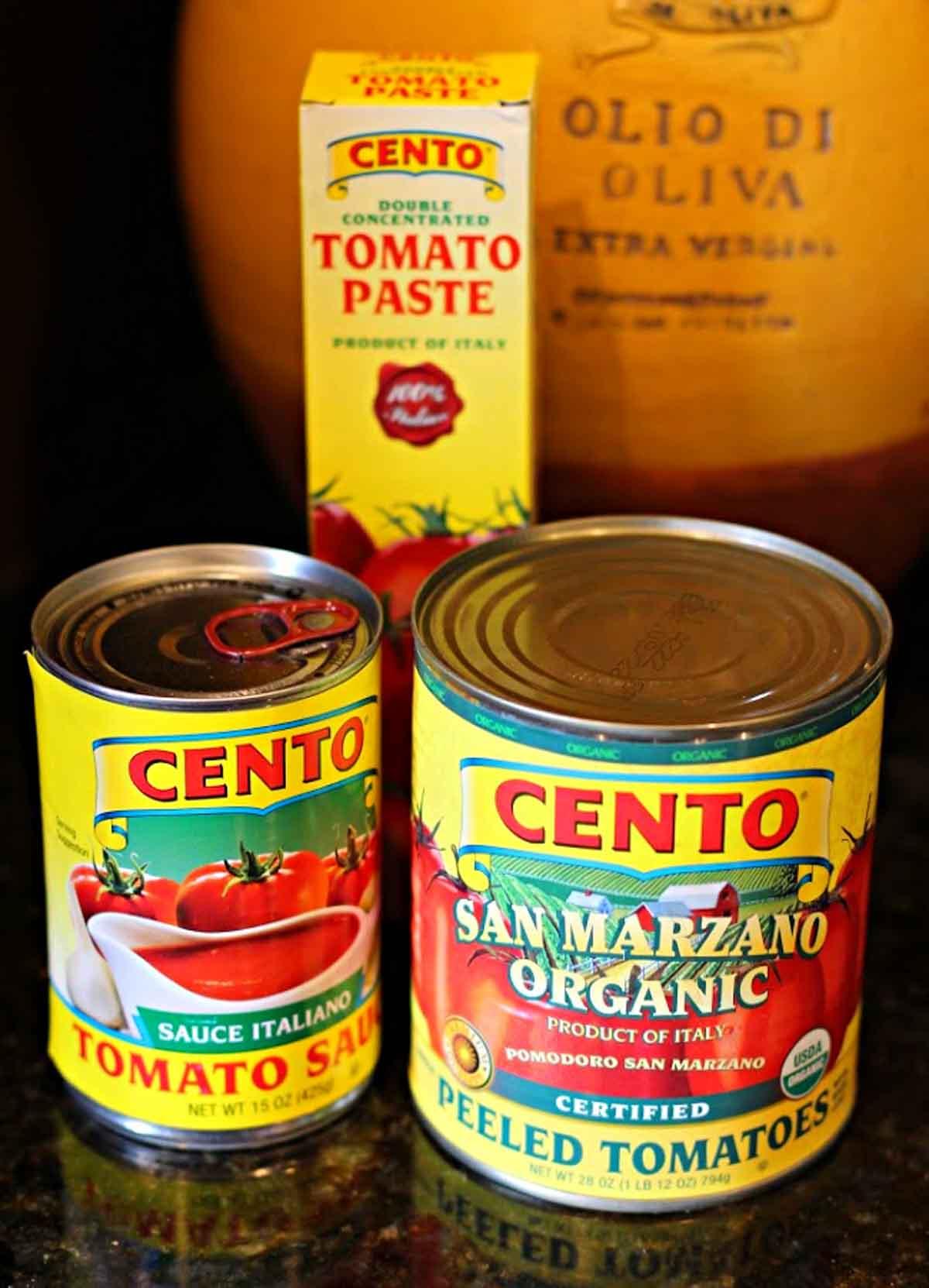 Cento tomatoes, tomato sauce and tomato paste