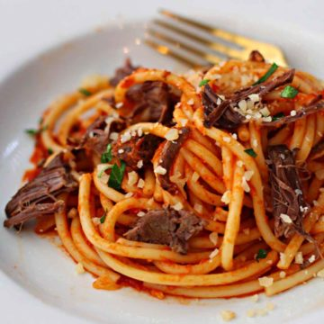 Bucatini pasta tossed with rustic marinara sauce and braised short ribs. Topped with Parmesan cheese and capers