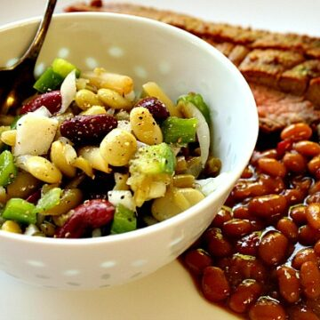 Old Fashioned four bean salad using 4 cans of beans.