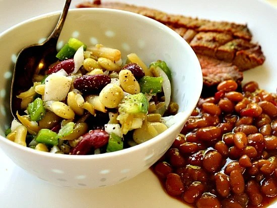 Old Fashioned four bean salad recipe using 4 cans of beans.